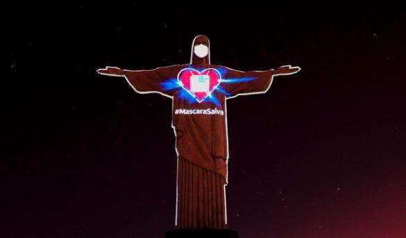El Cristo Redentor de Río de Janeiro también tiene máscara