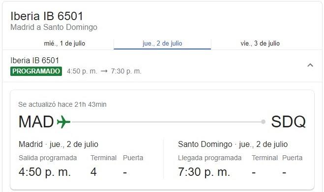 Iberia anuncia programación vuelos Madrid – Santo Domingo (RD) desde mañana jueves 02 de julio