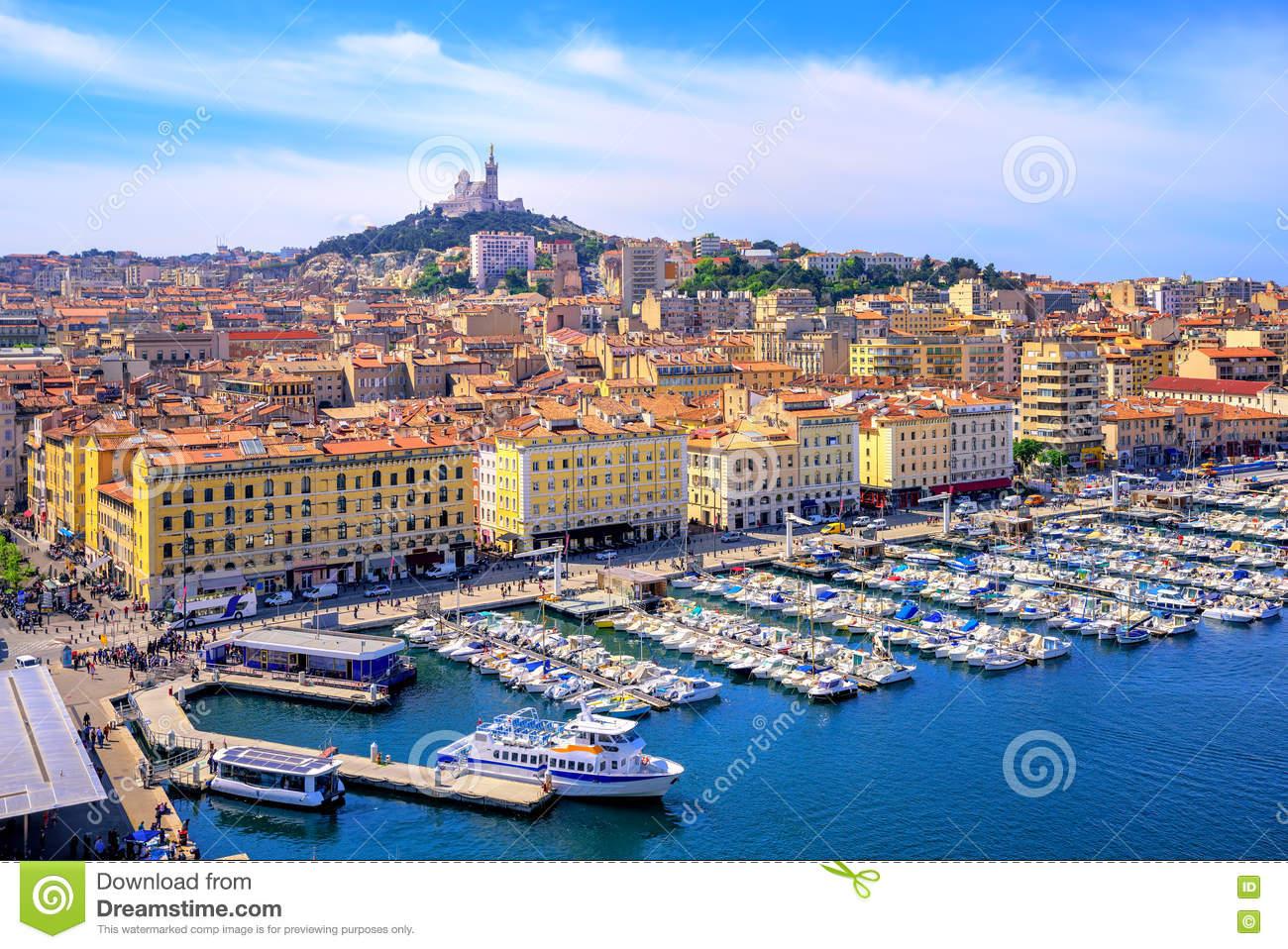 Paisaje de la ciudad de Marsella, Francia