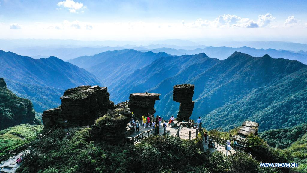 Monte Fanjing en la ciudad de Tongren, Guizhou, China